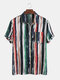 Mens Cotton Colorful Stripe Printed Tie-Dyed Holiday Casual Short Sleeve Shirt - Green