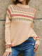 Vintage Jacquard Printed Casual Pullover Knit Women Sweater - Apricot