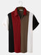 Mens Knitted Multicolor Patchwork Lapel Short Sleeve Golf Shirt - Brown