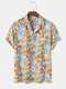 Mens All Over Colorful Element Print Revere Collar Holiday Short Sleeve Shirts - Yellow