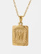 Vintage Gold Square Stainless Steel Letter Pattern Pendant - W