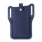 Men EDC Genuine Leather 6.3 Inch Retro Short Cell Phone Case Belt Bag - Blue