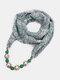 Vintage Chiffon Women Scarf Necklace Beaded Pendant Lattice Flowers Pattern Silk Scarf - #03