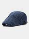 Men Cotton Stitching Stripes Cap Outdoor Leisure Wild Forward Hat Flat Cap - Blue