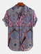 Mens Ethnic Printed Breathable Short Sleeve Loose Casual Shirt - Blue