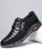 Men Stitching Leather Splicing Soft Sole Business Casual Shoes - Black