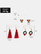 Christmas Women Earrings Set Christmas Tree Bells Tassel Pearl Ear Stud - #01