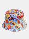 ユニセックス両面食品漫画パターンファッションサンシェードコットンバケットハット - 青