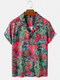 Mens Pineapple Printed Revere Collar Casual Short Sleeve Shirts With Pocket - Red