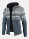Mens Ethnic Style Knitted Woolen Zipper Drawstring Hooded Sweater Cardigan - Gray