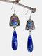 Alloy S925 Turquoise Bohemian Gemstone Drop Antique Lapis Lazuli Swing Earrings - Blue