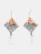 Elegant Rhombus Resin Women Earrings Hit Color Assembled Autumn-Winter Pendant Earrings - Rose Gold