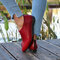 Women Comfy Retro Solid Color Pointed Toe Back Zipper Casual Flats - Red