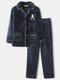 Mens Letter Embroidered Thicken Cardigan Button Homewear Pajamas Set With Pocket - Blue