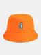 Unisex Cotton Solid Color Cartoon Little Dinosaur Embroidery All-match Sun Protection Bucket Hat - Orange