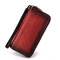 Men And Women Vintage Hand Brush Color Wallet Cow Leather Clutch Bag - Red