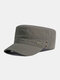 Men Cotton Solid Color Letter Pattern Labeling Sunshade Military Hat Flat Cap - Army Green