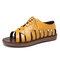 LOSTISY Cross Strap Lace Up Hollow Non Slip Casual Flat Womens Gladiator Sandals - Yellow
