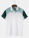 Designer Mens Waffle Knitted Patchwork Texture Short Sleeve Casual Golf Shirt - White