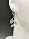 Vintage Silver-Plated Long Women Earrings Symmetrical Grape Vine Leaf Pendant Earrings Jewelry Gift - Gold