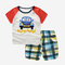 Boy's Car Plaid Print Short-sleeved Soft Pajama Clothing Set For 1-5Y - As Picture