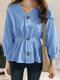 Solid Color Long Sleeve V-neck Button Blouse For Women - Blue