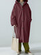 Solid Color Button Pocket Long Sleeve Casual Hooded Coat for Women - Wine Red