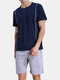 Men Plain Short Sleeve Pajamas Breathable O-Neck Summer Two Pieces Home Lounge Sets - Navy