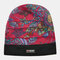 Women Floral Pattern Casual Fashion Breathable Outdoor Pleats Keep Warm Turban Beanie Hat - Red