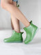 Women Brief Comfy Non-slip Waterproof Soft Slip On Solid Color Flat Rain Boots - Green