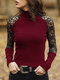 Solid High Neck Lace See-through Sexy Ribbed Blouse For Women - Wine Red