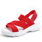 Plus Size Women Simple Solid Color Elastic Band Wearable Casual Sandals - Red