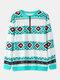Print Patchwork Zip Front V-neck Long Sleeve Casual Sweatshirt - Blue