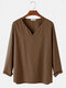 Mens 100% Cotton Solid Color V-Neck Casual Long Sleeve T-Shirts - Brown
