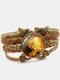 Vintage Galaxy Starry Sky Pattern Butterfly Geometric Shape Hand-braided Glass PU Alloy Multi-layer Bracelet - #02