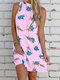 Floral Print Sleeveless Backless Casual Dress For Women - Pink