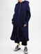 Casual Solid Color Pockets Front Zipper Hooded Long Coat - Navy