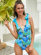 Women Tropical Plant Printed Cute Bow Shoulder Backless One Piece Swimsuit - Blue
