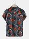 Mens Funny Pumpkin Print Revere Collar Street Short Sleeve Shirts - Dark Gray