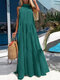 Solid Color Sleeveless O-neck Casual Dress For Women - Green