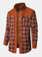 Mens Plaid Patchwork 100 % Cotton Fleece Lined Thick Lapel Reversible Jackets - Coffee