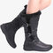 Women Winter Microfiber Warm Plush Zipper Snow Knee High Boots - Black