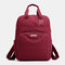 Women Casual USB Charging Multifunction Solid School Bag Backpack - Wine Red