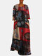 Ethnic Print Contrast Color Long Sleeve Vintage Maxi Dress - Wine Red