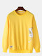 Mens Cotton Cartoon Cat Printing Applique Relaxed Fit Crew Neck Sweatshirts - Yellow