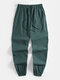 Mens National Style Embroidery Cotton Linen Casual Cuffed Pants - Green