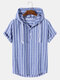 Mens Plain Striped 100% Cotton Short Sleeve Hoodie Casual Hooded T-Shirts - Blue