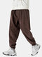 Mens Corduroy Solid Color Plain Drawstring Jogger Pants With Pocket - Coffee
