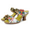 SOCOFY Retro Floral Painted Floral Slip on Mules Chunky Heel Sandals - Green