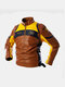 Mens Motorcycle Colorblock Pattern Back Print PU Leather Fit Stand Collar Jackets - Brown